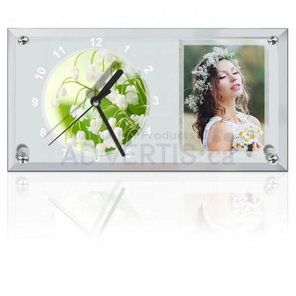Sublimation Clock Glass Frame with Strip Mirror Edge, 30x16 cm.