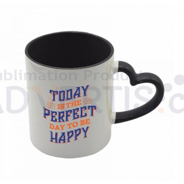 11oz. Sublimation Heart Shaped Handle Black Ceramic Coffee Mug With Individual Gift Box (12 Pack)