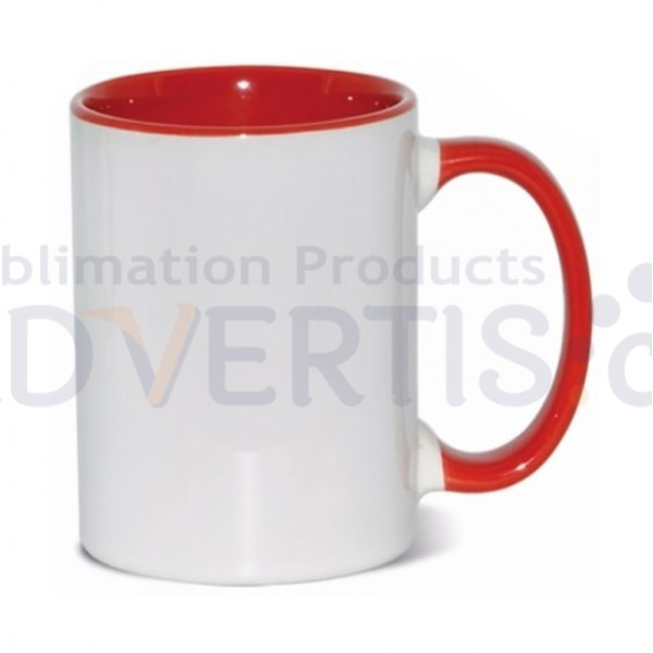 15oz. Sublimation Inner and Handle Red Ceramic Coffee Mug with Individual Gift Box (36 Pack)