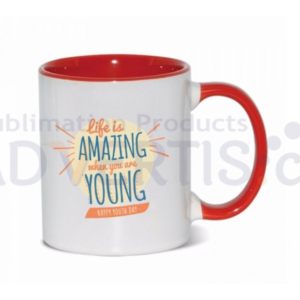11oz. Sublimation Red Inner and Handle Ceramic Coffee Mug (36 pack)