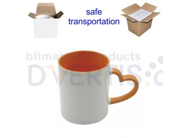 11oz. Sublimation Heart Shaped Handle Orange Ceramic Coffee Mug With Individual Gift Box (12 Pack)