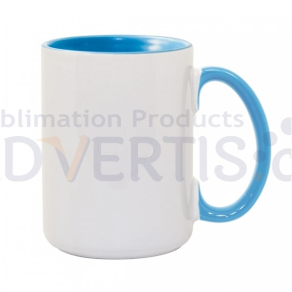 15oz. Sublimation Inner and Handle Light Blue Ceramic Coffee Mug with Individual Gift Box (36 Pack)
