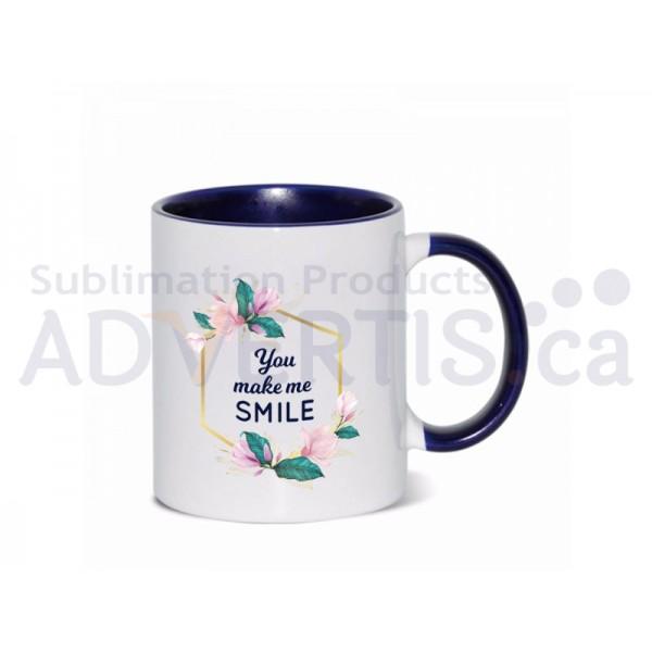 11oz. Sublimation Dark Blue Inner and Handle Ceramic Coffee Mug (36 pack)