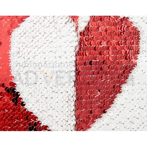 Sublimation Sequin Reversible Red / White Pillowcase, 40x40 cm.