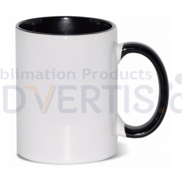 15oz. Sublimation Inner and Handle Black Ceramic Coffee Mug with Individual Gift Box (36 Pack)