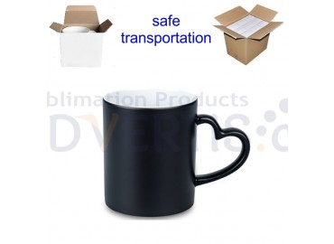 11oz. Sublimation Matte Magic Color Changing Heart Shaped Handle Black Ceramic Coffee Mug With Individual Gift Box (12 pack)