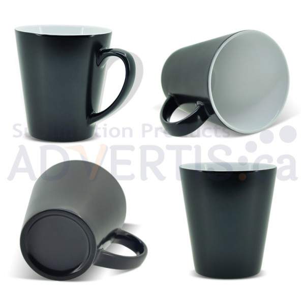 12oz. Sublimation Matte Black Magic Color Changing Ceramic Conical Mug with Individual Gift Box (355-ml.) (36 pack)