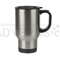 14oz. (500 ml.) Sublimation Silver Car Travel Stainless Steel Mug