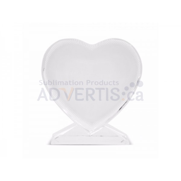 Sublimation Heart Screen Glass Crystal, 10.5x11cm.