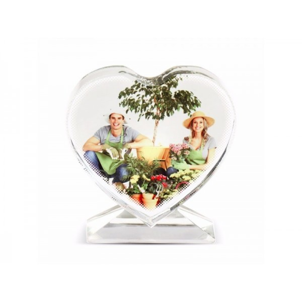 Sublimation Heart Screen Glass Crystal, 10.5x11 cm.
