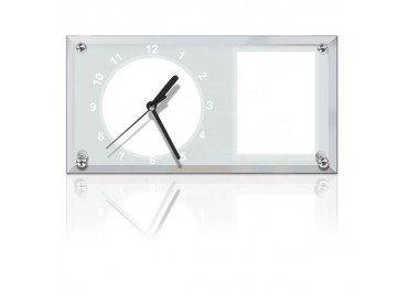 Sublimation Clock Glass Frame with Strip Mirror Edge, 30x16 cm.