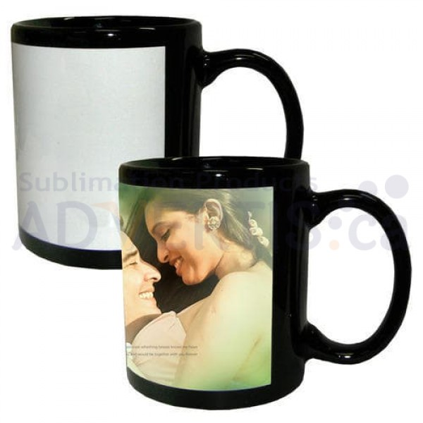 11oz. Sublimation Black Ceramic Coffee Mug with Printable White Area (36 pack)