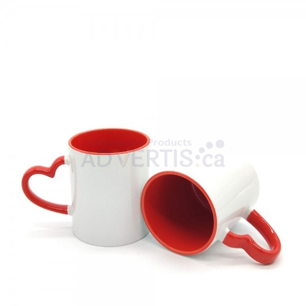 11oz. Sublimation Heart Shaped Handle Red Ceramic Coffee Mug With Individual Gift Box (12 Pack)