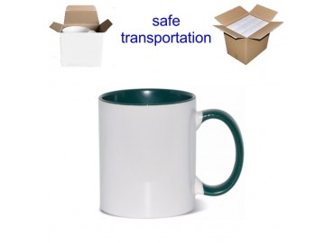 11oz. Sublimation Green Inner and Handle Ceramic Coffee Mug With Individual Gift Box (36 pack)