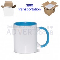 11oz. Sublimation Light Blue Inner and Handle Ceramic Coffee Mug With Individual Gift Box (36 pack)