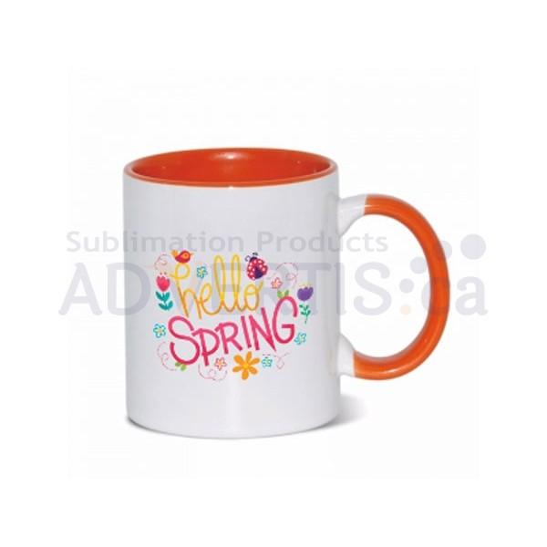 11oz. Sublimation Orange Inner and Handle Ceramic Coffee Mug (36 pack)