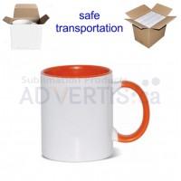 11oz. Sublimation Orange Inner and Handle Ceramic Coffee Mug With Individual Gift Box (36 pack)