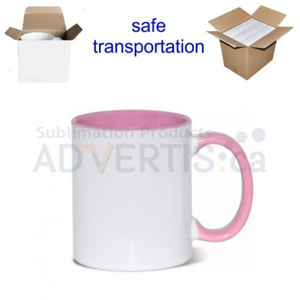 11oz. Sublimation Inner and Handle Pink Ceramic Coffee Mug With Individual Gift Box (36 pack)