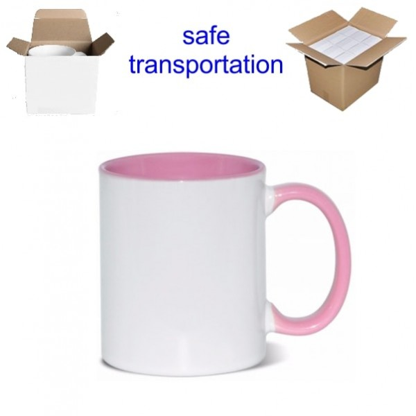 11oz. Sublimation Pink Inner and Handle Ceramic Coffee Mug With Individual Gift Box (36 pack)