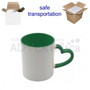 11oz. Sublimation Heart Shaped Handle Green Ceramic Coffee Mug With Individual Gift Box (12 Pack)