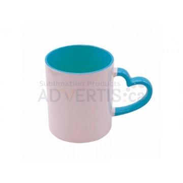 11oz. Sublimation Heart Shaped Handle Light Blue Ceramic Coffee Mug With Individual Gift Box (12 Pack)