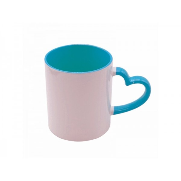 11oz. Sublimation Heart Shaped Handle Light Blue Ceramic Coffee Mug With Individual Gift Box (12 Pack)