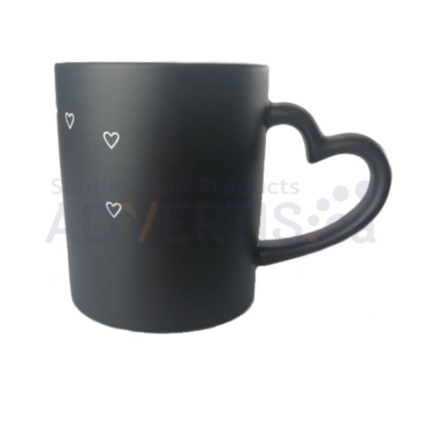 11oz. Sublimation Matte Magic Color Changing Heart Shaped Handle Hug Black Ceramic Coffee Mug With Individual Gift Box (12 pack)