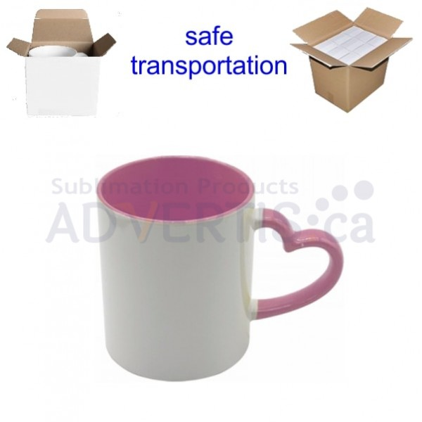 11oz. Sublimation Heart Shaped Handle Pink Ceramic Coffee Mug With Individual Gift Box (12 Pack)