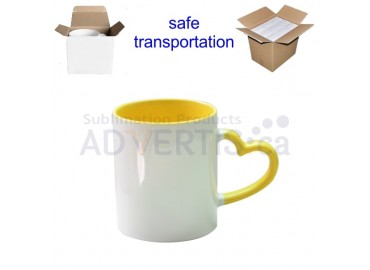 11oz. Sublimation Heart Shaped Handle Yellow Ceramic Coffee Mug With Individual Gift Box (12 Pack)