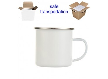 12oz. White Sublimation Enamel Stainless Steel Edge Mug with Individual Gift Box (12 pack)