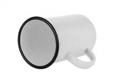 16oz. White Sublimation Enamel Black Edge Mug with Individual Gift Box (450 ml.) (12 pack)