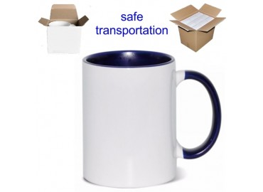 15oz. Sublimation Inner and Handle Dark Blue Ceramic Coffee Mug with Individual Gift Box (36 Pack)