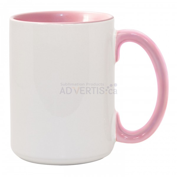 15oz. Sublimation Inner and Handle Pink Ceramic Coffee Mug with Individual Gift Box (36 Pack)