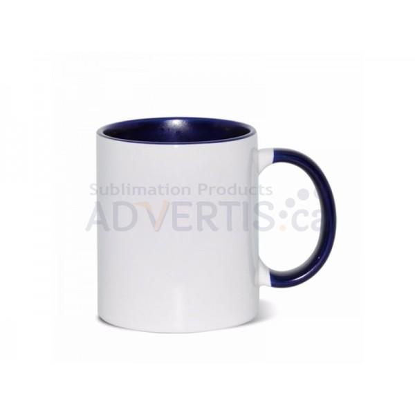 Sublimation Inner and Handle Dark Blue Ceramic Coffee Mug (12 pack)
