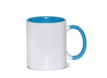 11oz. Sublimation Light Blue Inner and Handle Ceramic Coffee Mug (12 pack)
