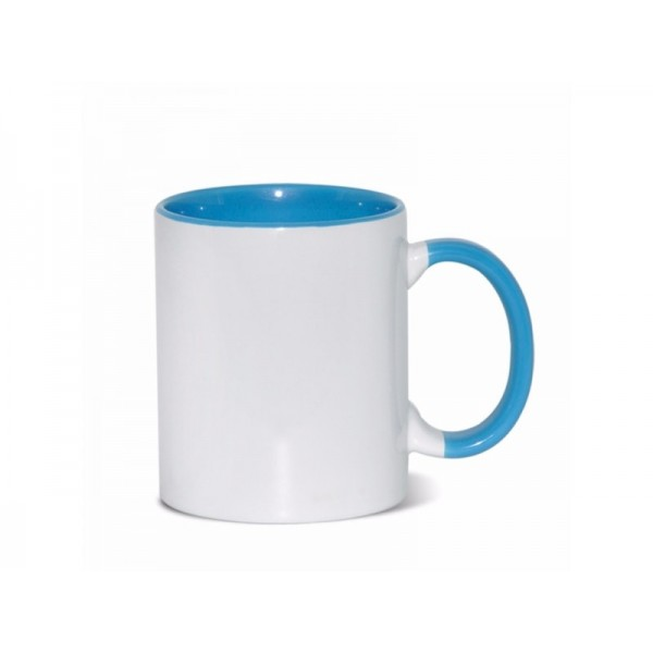 11oz. Sublimation Light Blue Inner and Handle Ceramic Coffee Mug (12 pack)