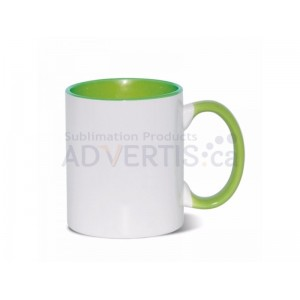 Sublimation Inner and Handle Light Green Ceramic Coffee Mug (12 pack)