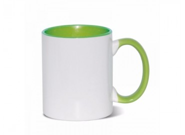 11oz. Sublimation Light Green Inner and Handle Ceramic Coffee Mug (12 pack)