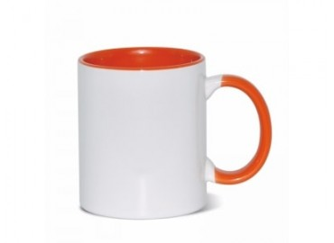 11oz. Sublimation Orange Inner and Handle Ceramic Coffee Mug With Individual Gift Box (12 pack)