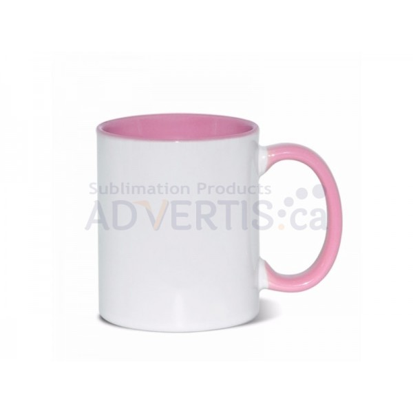 Sublimation Inner and Handle Pink Ceramic Coffee Mug (12 pack)