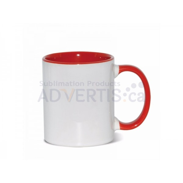Sublimation Inner and Handle Red Ceramic Coffee Mug (12 pack)