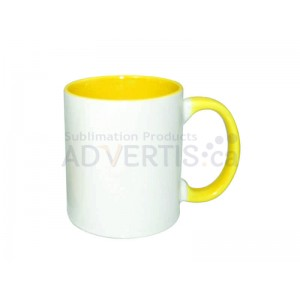 11oz. Sublimation Yellow Inner and Handle Ceramic Coffee Mug (12 pack)