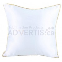 Sublimation Square White Polyester Pillowcase with Gold Edge, 40x40 cm.