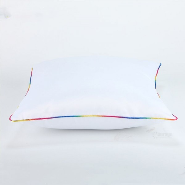 Sublimation Square White Polyester Pillowcase with Rainbow Edge, 40x40 cm.