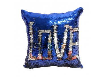 Sublimation Sequin Reversible Blue / Silver Pillowcase, 40x40 cm.