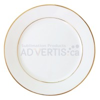 """10"""" Sublimation White Round Ceramic Plate with Gold Edging, 25.4 cm."""