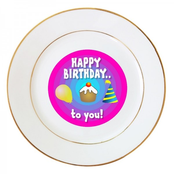 "10"" Sublimation White Round Ceramic Plate with Gold Edging, 25.4 cm."