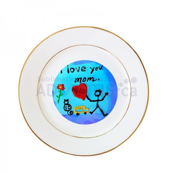 """8"""" Sublimation White Round Ceramic Plate with Gold Edging, 20.3 cm."""