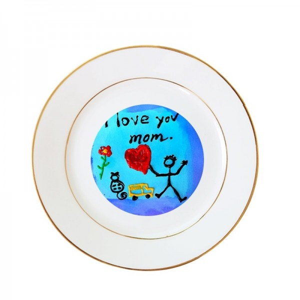 "8"" Sublimation White Round Ceramic Plate with Gold Edging, 20.3 cm."