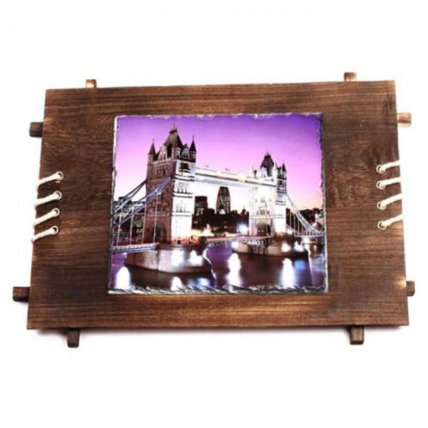 Sublimation Rectangular Photo Slate Rock Stone with Wooden Frame, 53x37 cm.